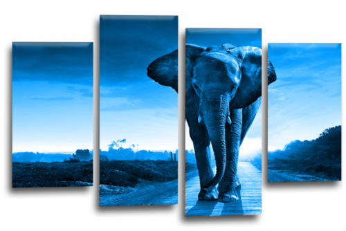 Sunset African Elephant Blue Grey Canvas Wall Art Picture Print